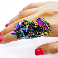 Titanium Quartz Druzy Ring Rainbow Crystal Aura Cluster by AstralEYE