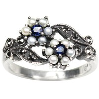 Gemini Silver Natural Seed Pearl Ring, Sapphire (size 7) - Dahlia Vintage Collection