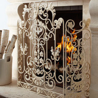 Antiqued-White Fireplace Screen - Horchow