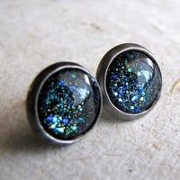 Black Sparkle Earrings  Blue Galaxy Post Earrings by AshleySpatula