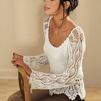 MADE TO ORDER elegant spring / summer women crochet blouse