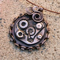 Steampunk Metal Clay Pendant