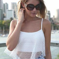White Sleeveless Net Overlay Crop Top