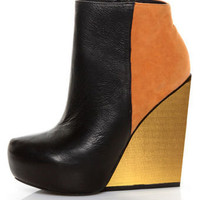 Matiko Madison Black & Orange Color Block Wedge Ankle Booties - $193.00