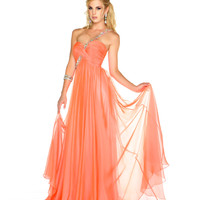Mac Duggal Prom 2013 - One Shoulder Melon Chiffon Gown With Sequin &amp; Rhinestone Embellishments - Unique Vintage - Cocktail, Pinup, Holiday &amp; Prom Dresses.