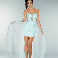 Mac Duggal Prom 2013 - Strapless Ice Blue Chiffon Dress With Rhinestone Embellishments - Unique Vintage - Cocktail, Pinup, Holiday & Prom Dresses.