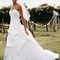 Satin and tulle assymetrical pick-up gown  - David&#x27;s Bridal