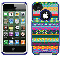 """Tribal Green"" Tribal Prints design on OtterBox® Commuter Series® Case for iPhone 4 / 4S in Blue"