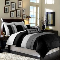 8 Pieces Black White Grey Luxury Stripe Comforter (86