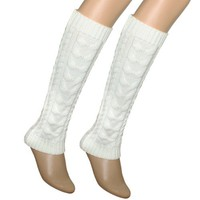 Cable Knit Trimmed Classic Boot Shaft Style Soft Acrylic Leg Warmer - White