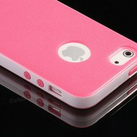 Pandamimi iphone 5 case - Deluxe Rose Pink White Fashion Sweety Girls TPU   PC 2-Piece Style Hard C