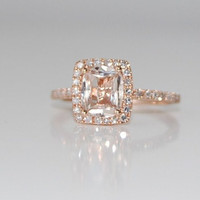18ct Cushion peach champagne sapphire in 14k rose by EidelPrecious