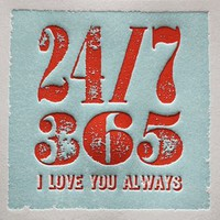 elum designs 24x7 love letterpress greeting card *NEW!*