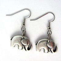 Elephant Earrings Charm Repurposed Button Animal Eco Friendly Jewelry by Hendywood
