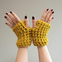 Mustard Yellow Chunky Crochet Wrist.. on Luulla