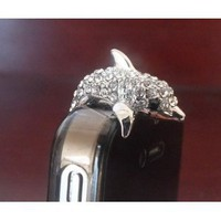 Amazon.com: 3.5mm Cute Crystal Dolphin Crocodile Dog Puppy Bear Anti Dust Antidust Earphone Plug Stopper Cap for iPhone 5 HTC (Silver Dolphin): Cell Phones & Accessories