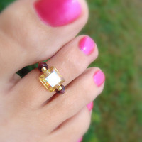 Toe Ring, Sugar Plum, Yellow, Plum, Glass Bead Toe Ring