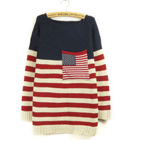 Round Neck Stripes Pocket Large Bat Sleeve Sweater