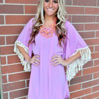 Fly Away in Fringe Dress Lavender - Modern Vintage Boutique