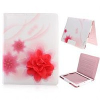 Fashion Design Flower Pattern Leather Stand Case Cover for iPad 2 - Red