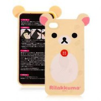 RILAK KUMA Cute Bear Back Skin Cover Case for iPhone 4G (Yellow)