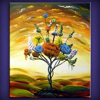 dancing lollipop tree painting large fun whimsical abstract art landscape original 18 x 24