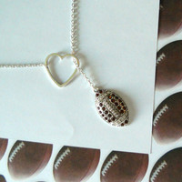 Football Necklace with Rhinestones and by MelissaMarieRussell