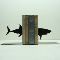 Shark Metal Art Bookends - Free USA Shipping