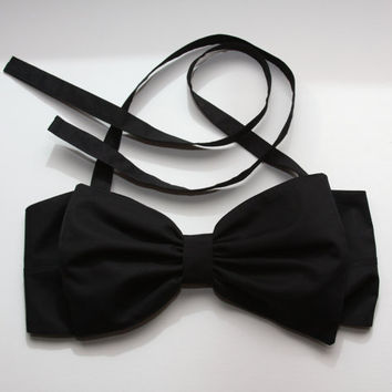 $45.00 plain black bow bandeau  Made to order by amourouse on Etsy