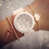 Rose Gold &amp; White Rubber Strap Watch from Her Vanity Affair