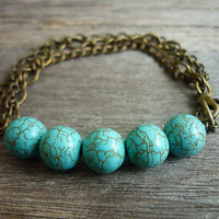 Turquoise beads & Mixed Chains Bracelet by AstralEYE on Etsy