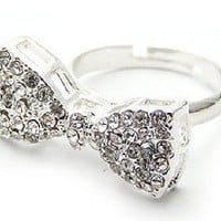 Sliver Sparkling Bow Ring from Her Vanity Affair