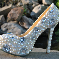 Jeweled Bridal Shoes  Silver Crystal Sparkle Wedding by bridalized