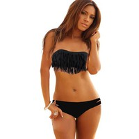 Intimates21 - Sexy Black Strapless Bikini Top /W Tassel   Bottom Padded Bra Swimsuit Beachwear (M)