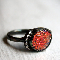 Fire Drusy Ring Bright Orange Druzy in by RachelPfefferDesigns