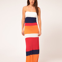 River Island Colour Block Bandeau Jersey Maxi Beach Dress