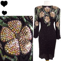 Vintage 80s FLORAL Sequin BEADED Cocktail Party Dress 1X Plus Holiday Black SILK Vintage 80s FLORAL Sequin BEADED Cocktail Party Dress 1X Plus Holiday Black SILK - eBay (item 290644621324 end time Jan-08-12 13:58:09 PST)