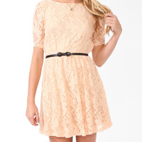 Lace Surplice Back Dress w/ Belt | FOREVER21 - 2000049198