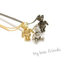Cute Silver Teddy Bear Pendant Necklace at Online Cheap Fashion Jewelry Store Gofavor
