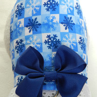 Chanukkah Hanukkah Christmas Blue Snowflake Winter Theme Harness with Bow & Lace. Custom made for your Cat, Dog or Ferret.
