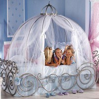 Disney Princess Carriage Bed Twin W/ Pink Sheer ! Perfect For Any Princess !