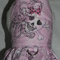 "Skull with Bow ""Rock N Roll with a Touch of Pink"" Goth Gothic Harness. Custom made for your Cat, Dog or Ferret."