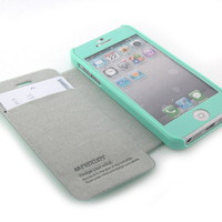 GNJ New Mint Leather credit card pouch case cover + Mint Screen for iPhone 5 5G