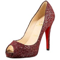 Christian Louboutin Glittered Platform Pump Oxblood - $179