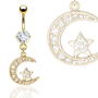 Gold Plated Moon &amp; Star Navel Ring with CZ - 14GA 3/8&quot; Long