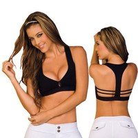 My Associates Store - T Back Sports Bra Black