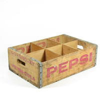 Vintage Wood Pepsi Crate Wooden Shadow Box Red by BridgewoodPlace