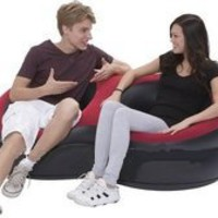 My Associates Store - LGI Comfortable and Stylish Black and Red Double Inflatable Chair - Couple Chair - Great for Apartments or Camping