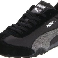 Amazon.com: Puma Women's 76 Runner Lace-Up Fashion Sneaker,Black/Dark Shadow/Silver Metal,8 B US: Shoes