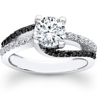 Engagement Ring - Round Diamond Double Swirl Black & White Diamond Engagement Ring - ES1038